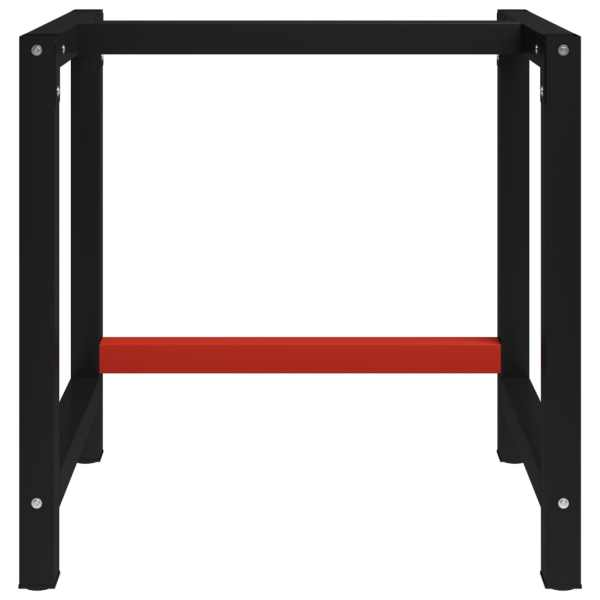 Cadru metalic banc de lucru, 80x57x79 cm, negru și roșu