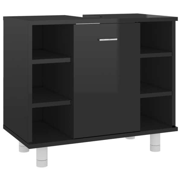 vidaXL Dulap de baie, negru extralucios, 60 x 32 x 53,5 cm, PAL