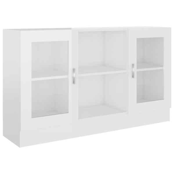 Dulap cu vitrină, alb extralucios, 120 x 30,5 x 70 cm, PAL