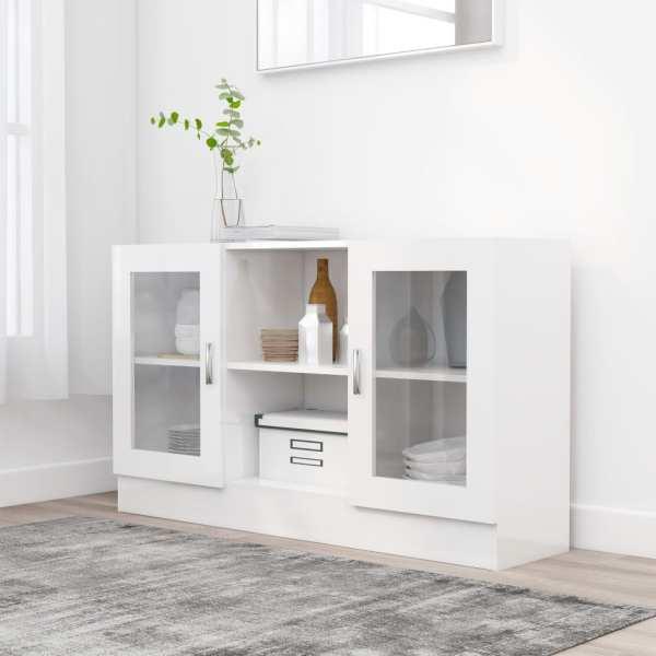 vidaXL Dulap cu vitrină, alb extralucios, 120 x 30,5 x 70 cm, PAL