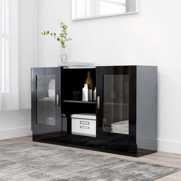 vidaXL Dulap cu vitrină, negru extralucios, 120 x 30,5 x 70 cm, PAL