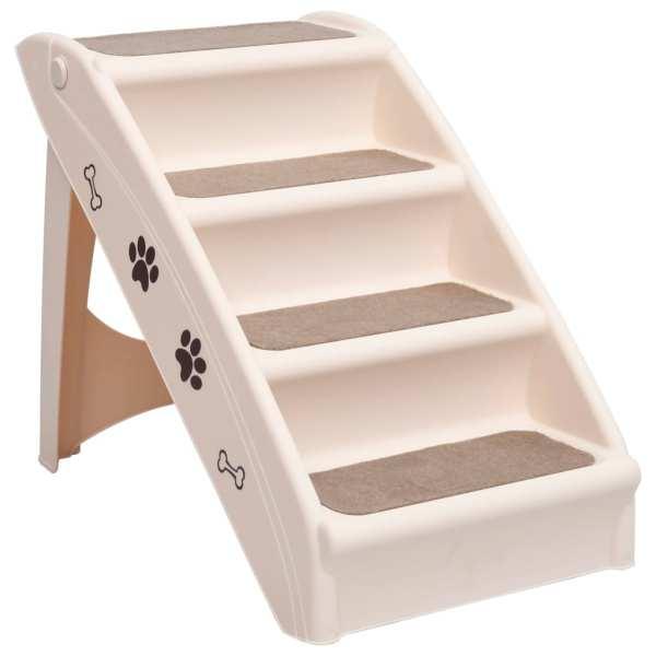 Scară pentru câini pliabilă, crem, 62 x 40 x 49,5 cm