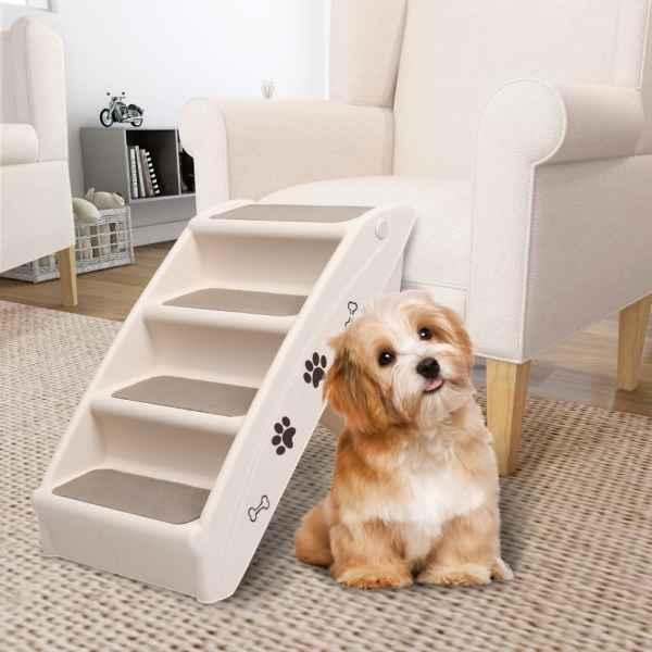 vidaXL Scară pentru câini pliabilă, crem, 62 x 40 x 49,5 cm