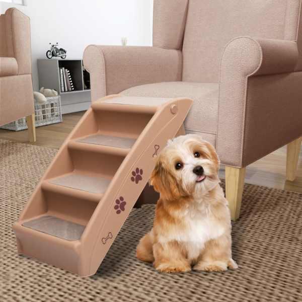 vidaXL Scară pentru câini pliabilă, maro, 62 x 40 x 49,5 cm