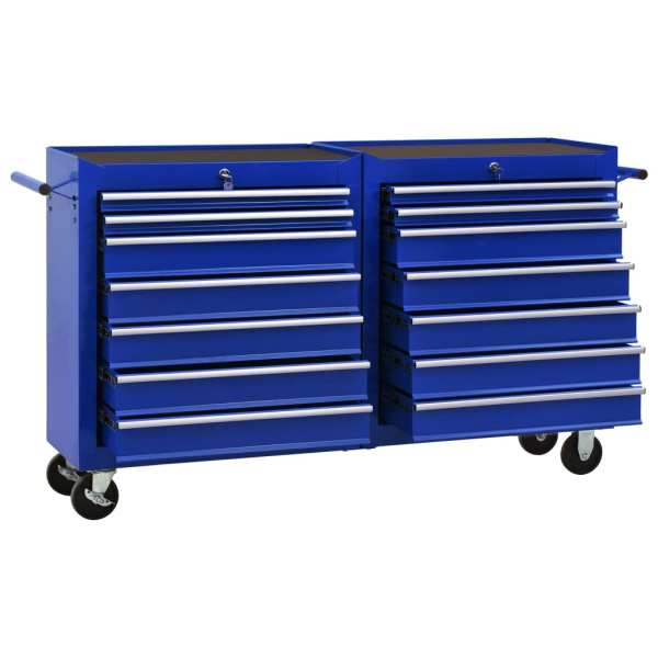 vidaXL Cărucior de scule cu 14 sertare, albastru, oțel