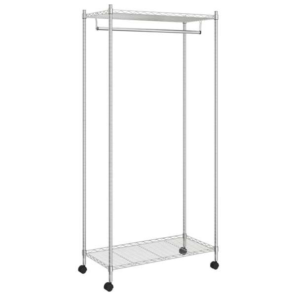 vidaXL Cuier de haine cu roți, 2 niveluri, crom, 90x45x186 cm, 100 kg