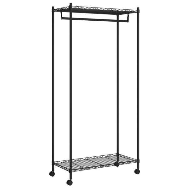 vidaXL Cuier de haine cu roți, 2 niveluri, negru, 90x45x186 cm, 100 kg