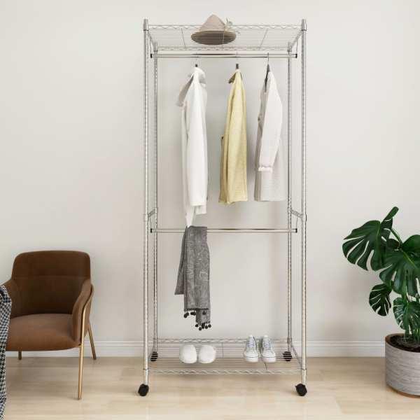 vidaXL Cuier de haine cu roți, 2 niveluri, 90x45x198 cm, crom, 100 kg