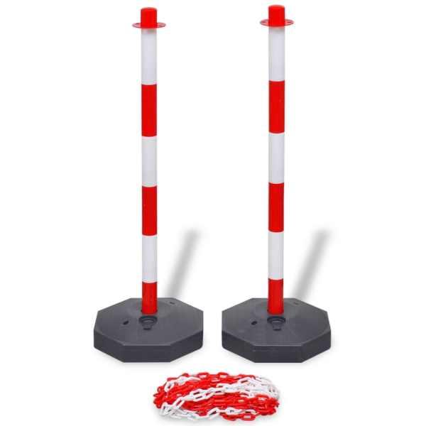 vidaXL Set 4 stâlpi de blocare & 2 lanțuri de plastic, 10 m