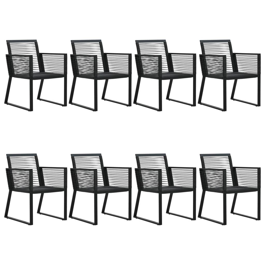 vidaXL Set mobilier de exterior, 9 piese, negru, ratan PVC