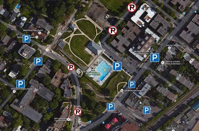 Westmount Pool Parking Map