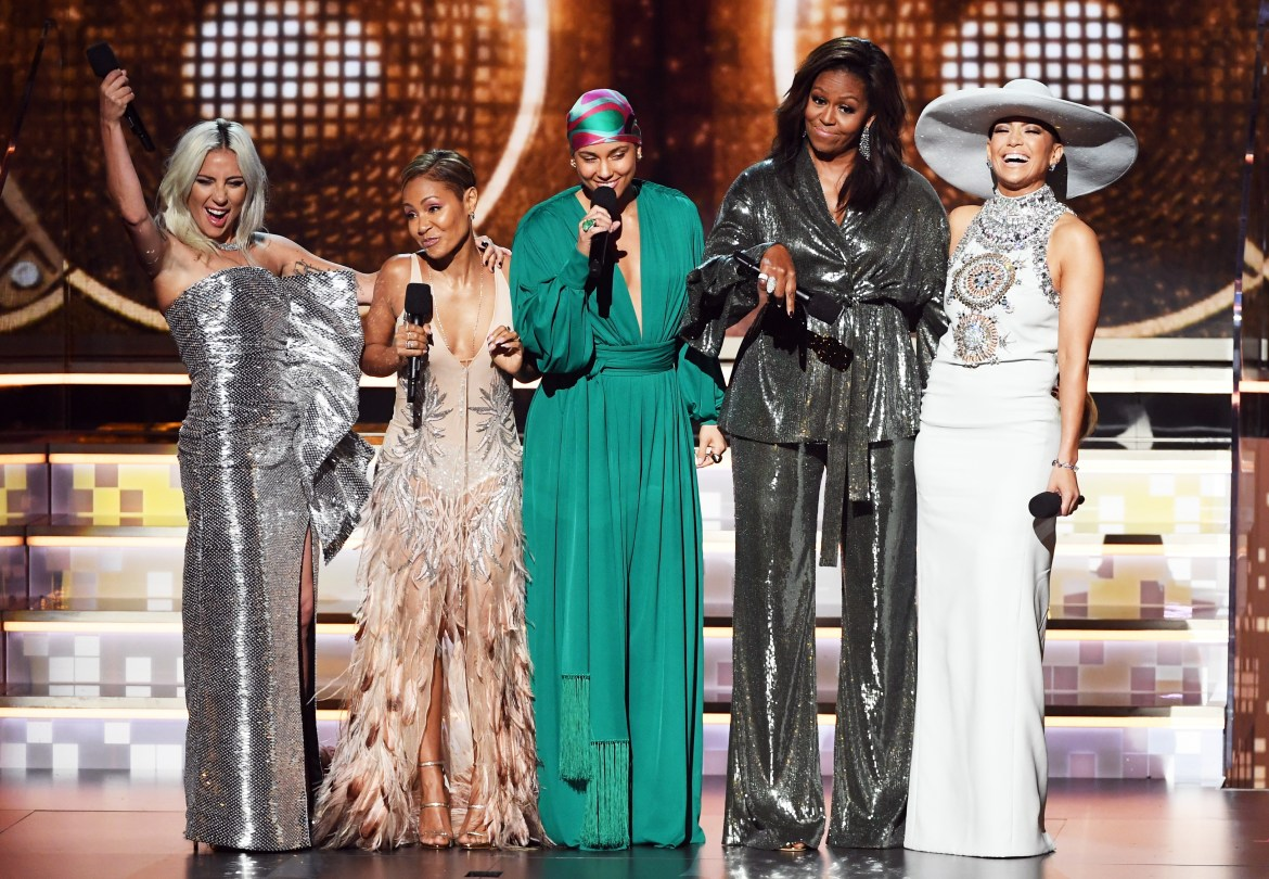 (L-R) Lady Gaga, Jada Pinkett Smith, Alicia Keys, Michelle Obama, and Jennifer Lopez speak onstage during the 61st Annual GRAMMY Awards at Staples Center on February 10, 2019 in Los Angeles, California.