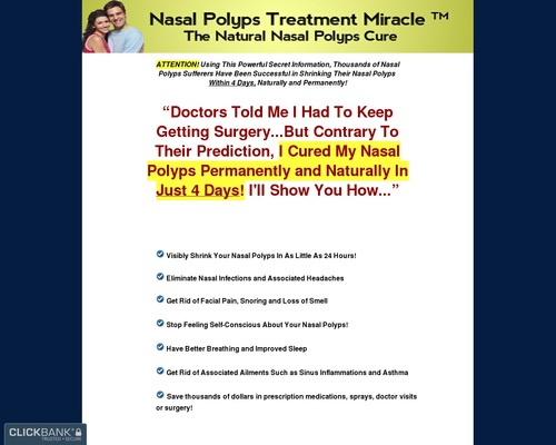 Nasal Polyps Treatment Miracle ™ – Up To $68 Per Sale!