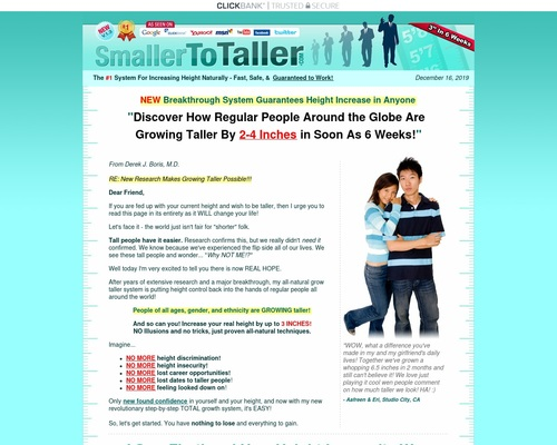 Smaller To Taller – Increase Your Height With Breakthrough Research!