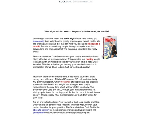 Scarsdale Low-carb Diet — 75% Commission!