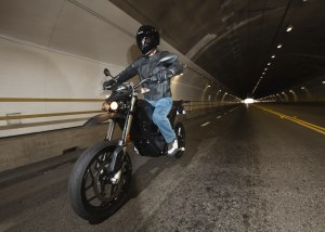 Zero electric motorcycle in tunnel