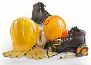 Industrial Protective Workwear. Includes Hard Hat, Gloves, Shoes, Ear Muff and Eyewear.