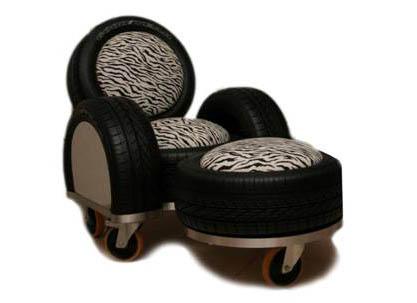 Reutilização de pneus - Poltrona feita com pneus