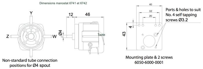 dimensions manostat 6741 ou 6742
