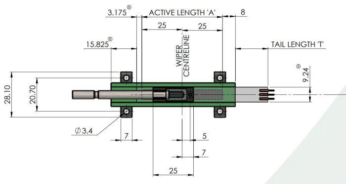 IPL-0200-103-3%-ST dimensions potentiomètre lineaire
