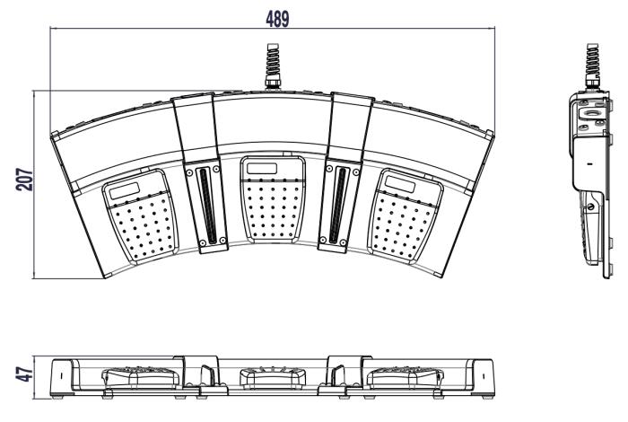 dimensions pédale modulaire triple