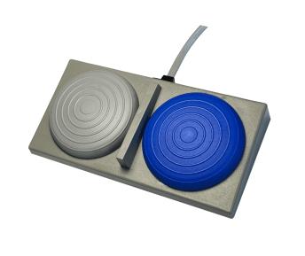 soufflet double pour fontaines à eau bleu et gris
