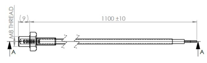 dimensions sonde de température ETP-MO-SP-M8-1100-PT1000A 94628