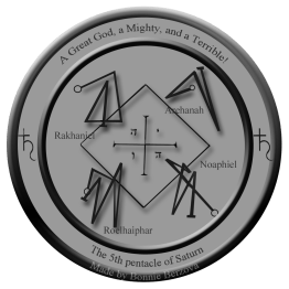 This is a modern version of the 5th pentacle of Saturn from Clavicula Salomonis.