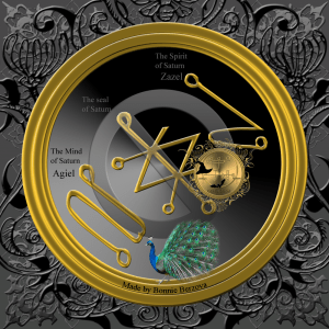 This is the planetary talisman of Saturn: square of Saturn, the seal of Saturn and the seals of Agiel and Zazel.