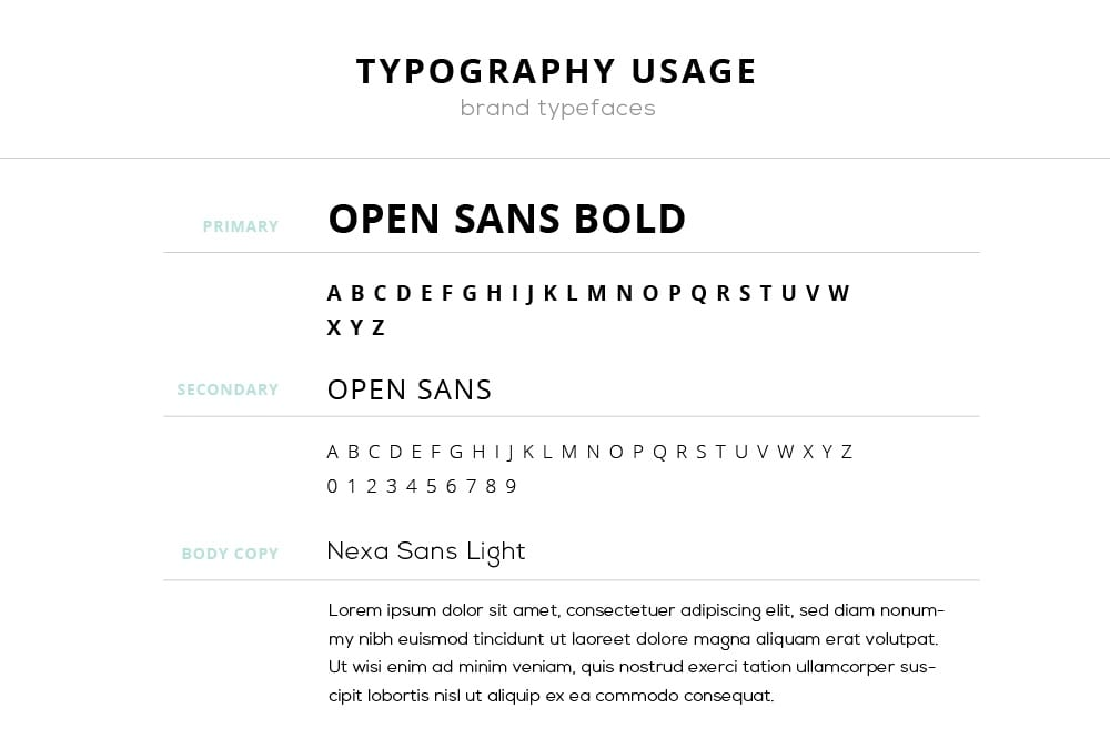 Typography style guide branding