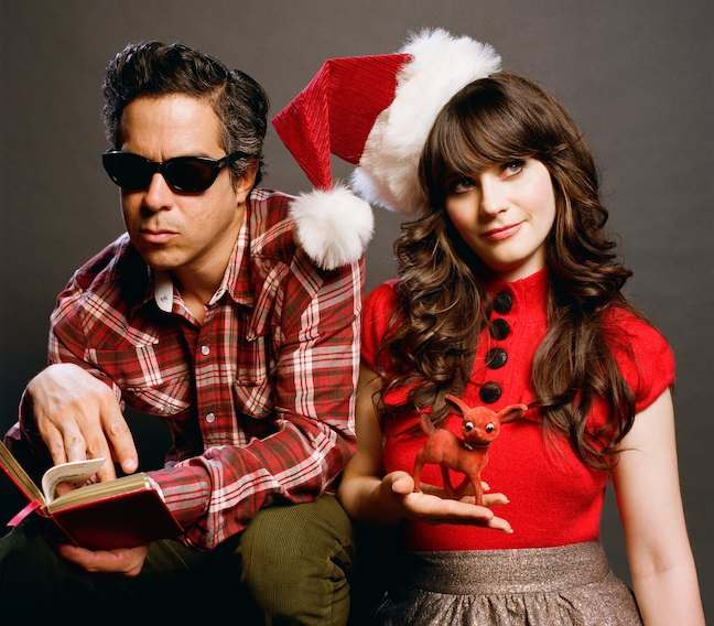 she and him christmas album xmas zooey deschanel santa hat indie christmas songs pitchfork