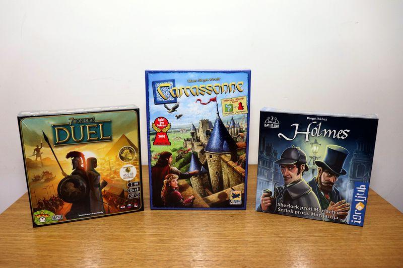 Naghrade: 7 Wonders: Duel (srpsko izdanje) (Pridemage Games). Carcassonne (srpsko izdanje) (Games4You) i Šerlok protiv Morijartija (srpsko izdanje) (Astal),