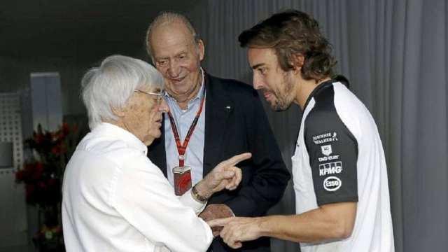 Bernie Ecclestone, el Rey Don Juan Carlos I y Fernando Alonso