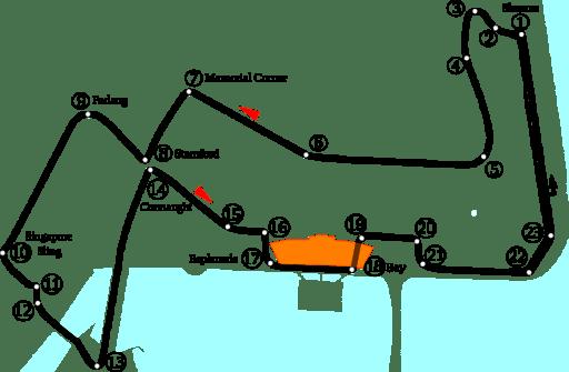 Mapa del circuito de Marina Bay