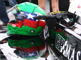Chilean flag on helmet of Eliseo Salazar Valenzuela