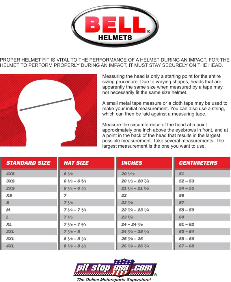 Sizing Chart Bell Auto Racing Helmets