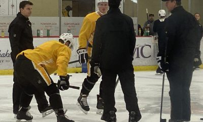 Pittsburgh Penguins Mike Sullivan, Teddy Blueger, Sam Lafferty, Matt Cullen
