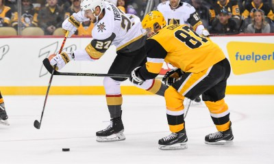 Pittsburgh Penguins Sidney Crosby, Shea Theodore, Vegas Golden Knights