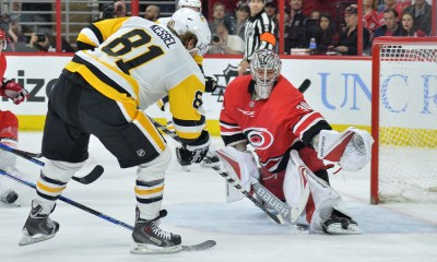 Phil Kessel shoots on Carolina Hurricanes goalie
