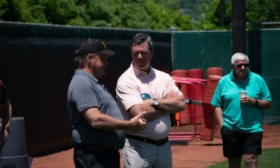 Penguins Head Coach Mike Sullivan Talks with Steelers GM Kevin Colbert