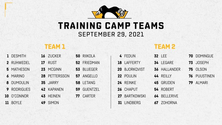 Pittsburgh Penguins training camp groups