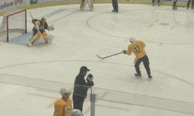 Dominik Simon wrist shot at Pittsburgh Penguins practice