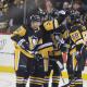 Pittsburgh Penguins Phil Kessel, Sidney Crosby, Kris Letang and Evgeni Malkin