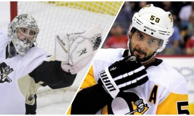 Pittsburgh Penguins Marc-Andre Fleury and Kris Letang
