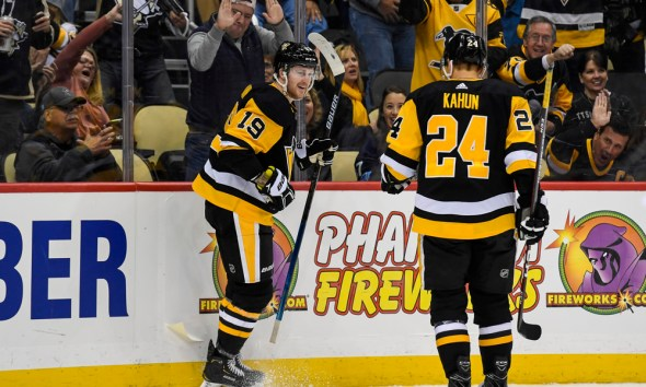 Jared McCann after a Pittsburgh Penguins Score