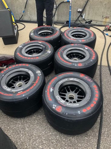Firestone tires lined up in the pits waiting to be put on one of the cars in the 33-car Indianapolis 500 field.