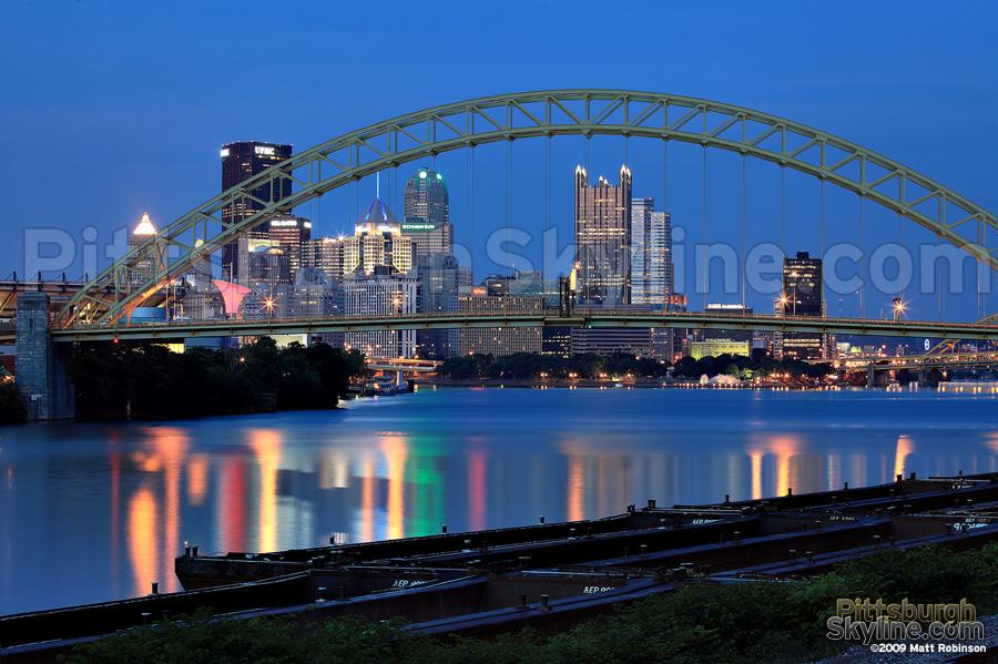 Pittsburgh Skyline behind the West End Bridge