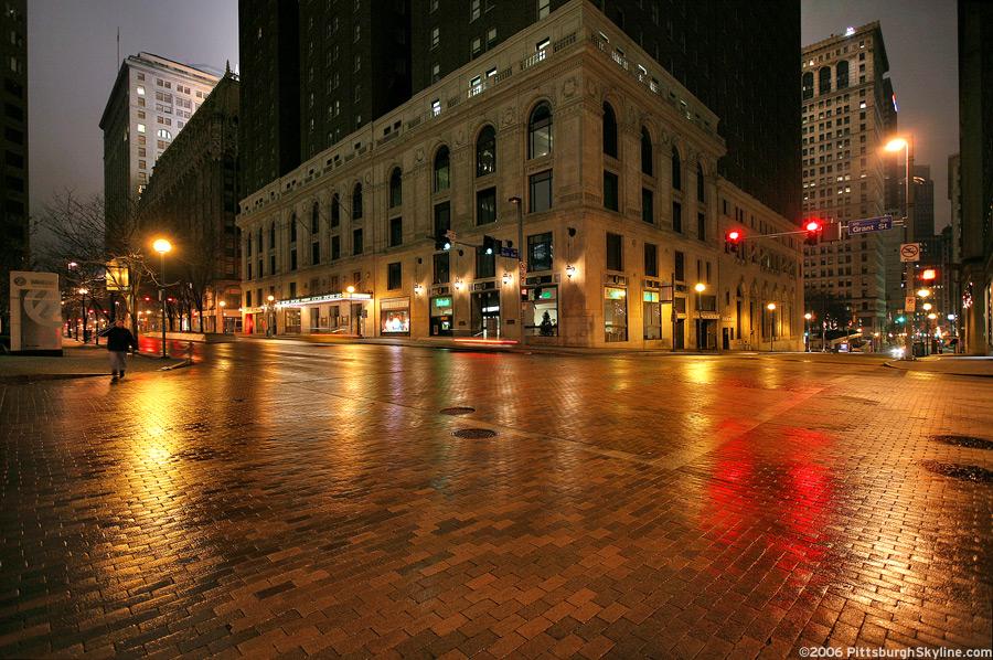 Rainy Grant Street at night, Pittsburgh