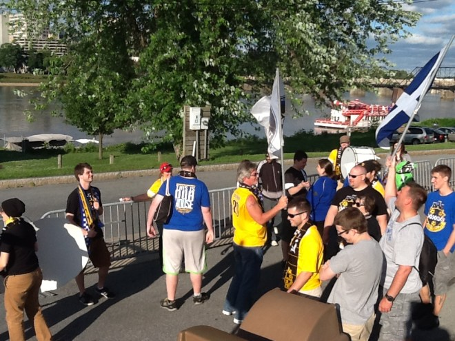 Last June, the Steel Army invaded the state capital.  This year, they will be heading to Rochester to root on the Riverhounds.