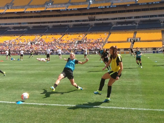 USWNT training session at Heinz Field on Saturday was the first time the team came together on the field since their World Cup triumph.